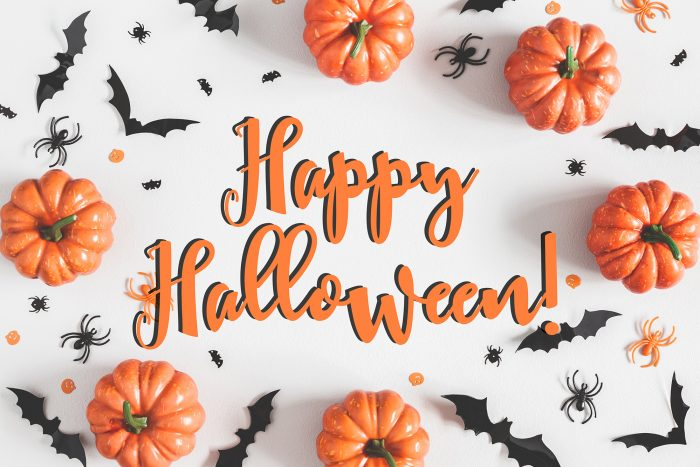 Orange and black Happy Halloween text with pumpkins and bats